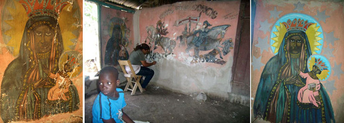 Restauration de peintures murales au sanctuaire de Belony