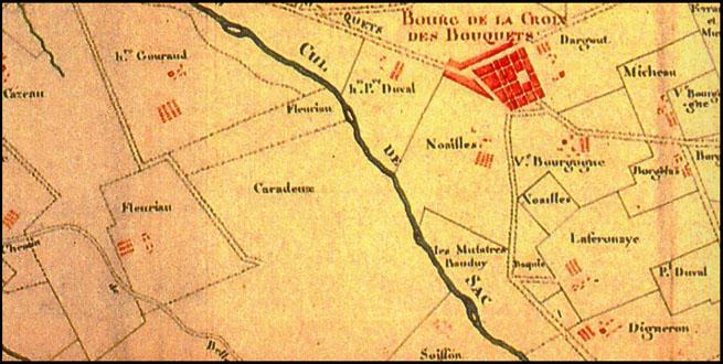 Bourg de la Croix des Bouquets - Extrait de carte du XVIIIe siècle