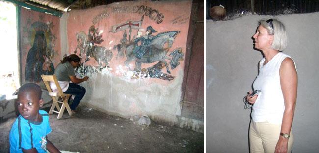 Chez Andersonn Belony, Madame VERDEGAAL suit avec attention les gestes de Tessa Mars en train de restaurer les peintures murales